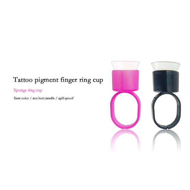 Tattoo Ink Ring Cups Glue with Sponge Microblading Pigment Cup