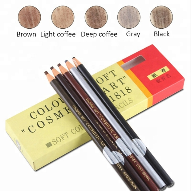 Long Lasting Eyebrow Wooden Pencil Slim Waterproof Microblading Eyebrow Pen For Shaping Wholesale 6Colors Cosmetics Tools